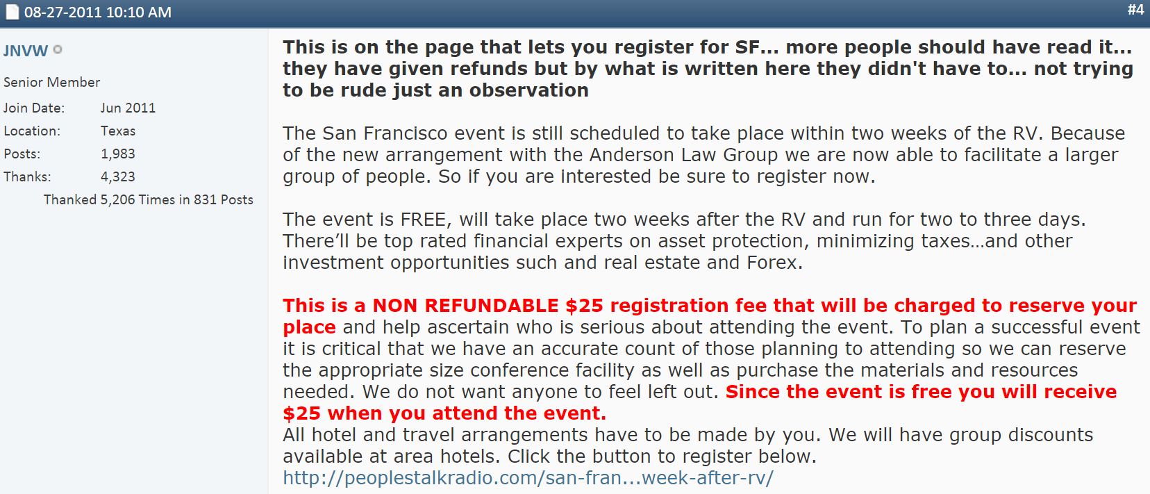 Conspiracy?  In 2008 Before They Were Dinar Gurus - Dan Atkinson and Tony Appeared in Fuel Video - Post RV Non Refundable Tickets Ptr-san-francisco-post-rv