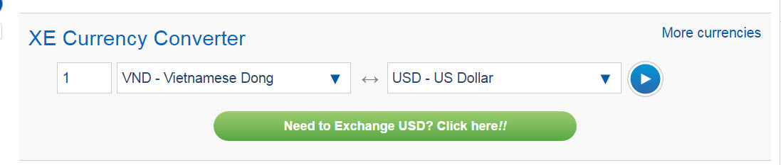1 VND to USD